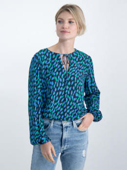 garcia blouse met allover print o00031 donkerblauw