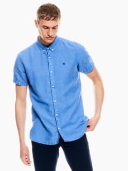 garcia linnen overhemd indigo blauw p01240