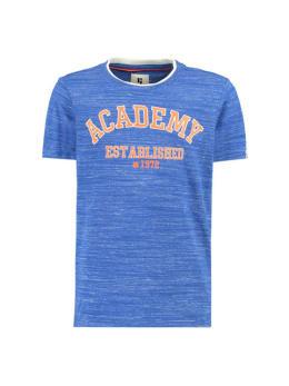 garcia t-shirt met tekstprint g93402 gemêleerd blauw
