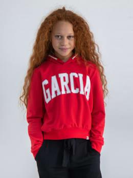 garcia hoodie met tekstopdruk gs020101 rood