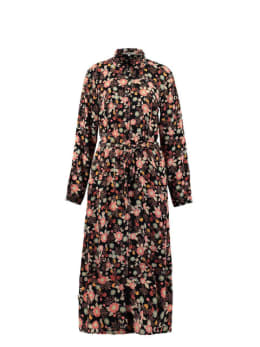 garcia midi jurk met allover print pg000306 zwart