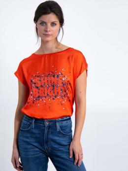 garcia t-shirt met tekst j90211 oranje