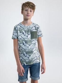 garcia t-shirt met allover print o03406 groen