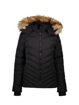 cars puffer jas met bontkraag chandra zwart