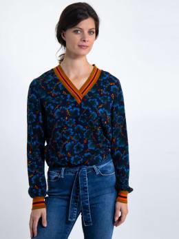 garcia blouse met allover print j90231 blauw