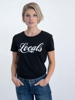 garcia t-shirt met tekstprint n00212 zwart