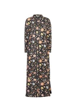 garcia lange jurk met bloemenprint i90085 zwart