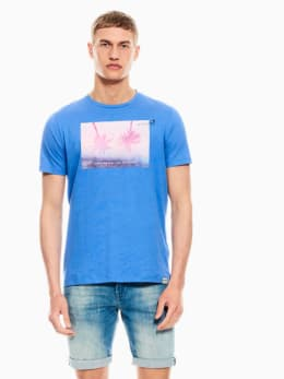 garcia t-shirt met opdruk blauw q01003