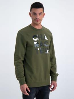 garcia sweater met tekst n01267 groen