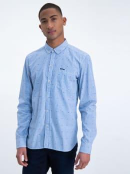 garcia gestreept overhemd met allover print m01032 blauw