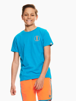 garcia t-shirt met borstprint blauw q03408