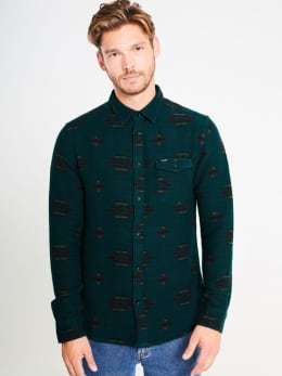 wrangler overhemd met patroon w5a4bbg01 groen