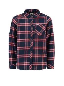garcia blouse i92431 geruit blauw roze