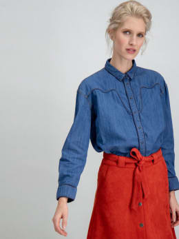 garcia denim blouse h90233 blauw