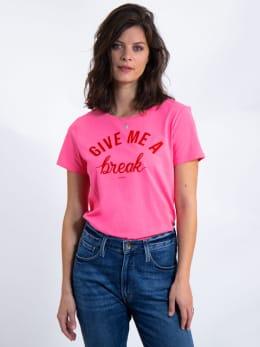 garcia t-shirt met tekst l90002 roze