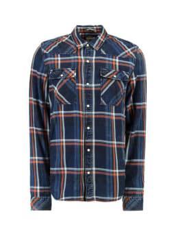 garcia geruit overhemd I91023 blauw