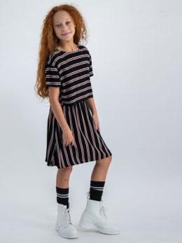 garcia jurk gestreept m02481 zwart
