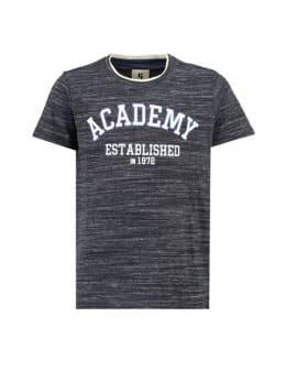 garcia t-shirt met tekstprint g93402 gemêleerd donkerblauw