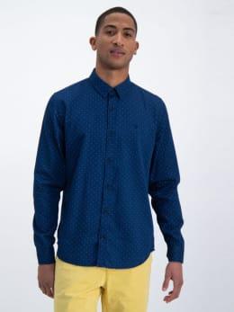 garcia overhemd met allover print o01033 blauw