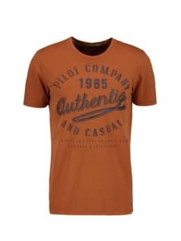 pilot t-shirt met opdruk bruin pp010401