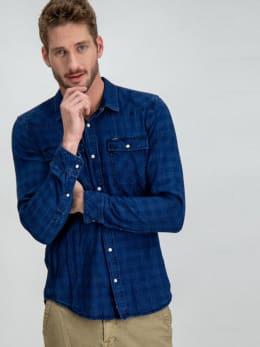 garcia geruit overhemd g91027 blauw