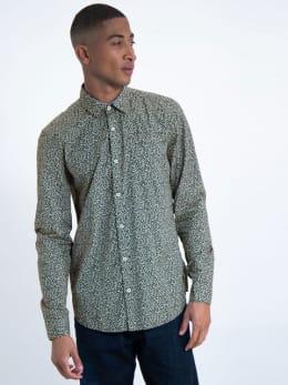 garcia overhemd met allover print j91227 groen-grijs