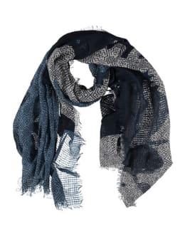 sarlini sjaal met allover print blauw
