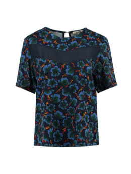 garcia blouse met allover print j90236 blauw