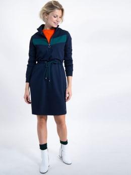 garcia jurk met rits j90285 blauw