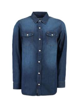 garcia denim overhemd g93432 blauw
