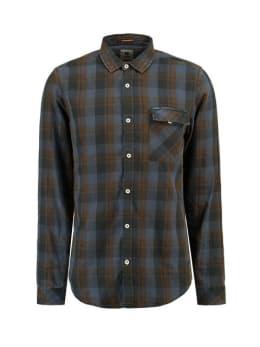 garcia geruit overhemd j91230 grijs-bruin