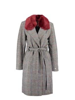 garcia wollen belted coat met ruit gj901002 zwart