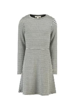 garcia geruite jurk h92683 zwart-wit