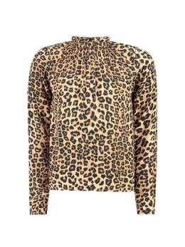 garcia blouse met allover panterprint pg901102 bruin