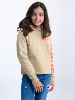garcia hoodie met tekst ge920901 beige