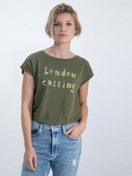 garcia t-shirt met tekstprint m00001 groen