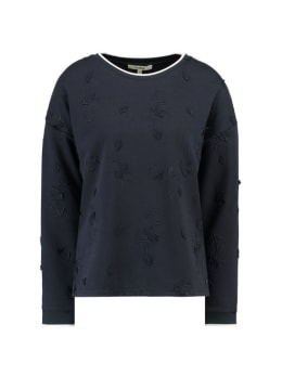 garcia trui met borduurwerk h90260 blauw
