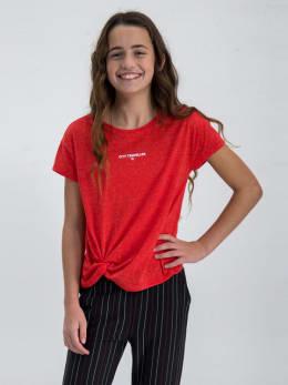 garcia t-shirt met knoopdetail n02603 rood