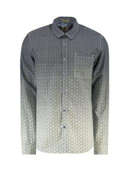 garcia overhemd met allover print h91225 blauw-grijs