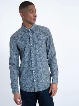 garcia overhemd met allover print j91227 blauw
