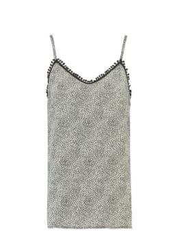 garcia top met allover print g90001 zwart-wit