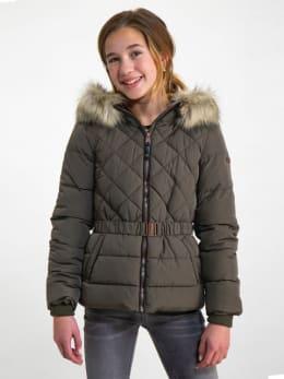garcia puffer jas met ceintuurband gj920801 groen