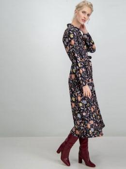 garcia lange jurk met allover print i90085 zwart