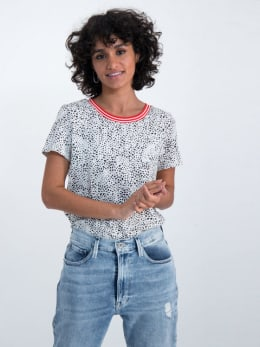 garcia t-shirt met allover stippenprint n00209 wit