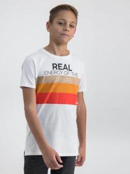 garcia t-shirt met opdruk n03609 wit