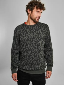 chief sweater met allover print pc910920 groen