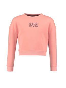 iconic crush denim cropped sweater roze