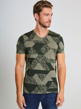 chief t-shirt met allover print pc910704 groen