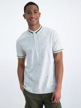 garcia polo met allover print n01220 wit