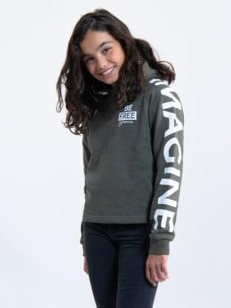 garcia hoodie met tekst ge920901 groen